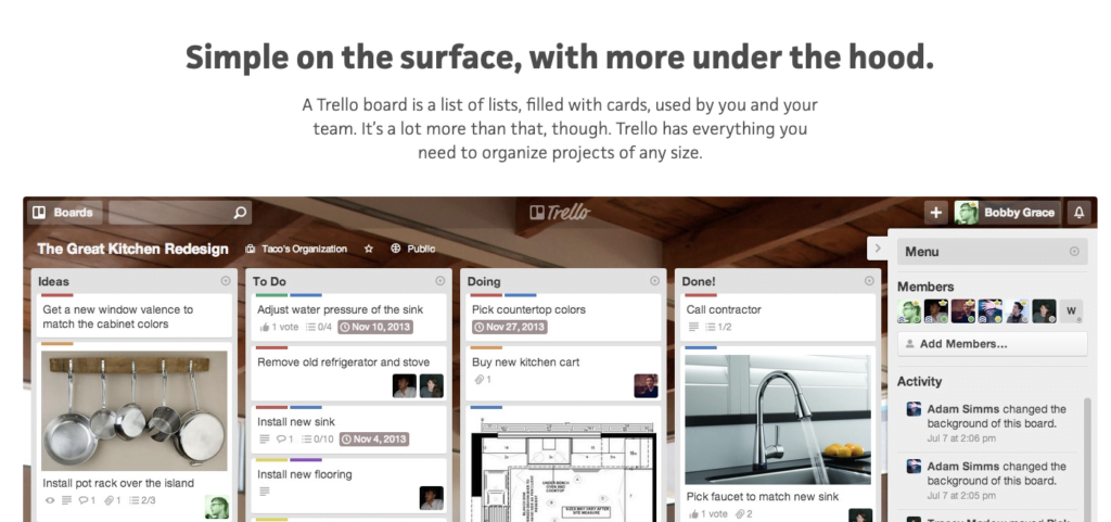 Trello simple on the surface business message